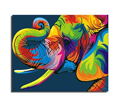 (CHESUN Romantische Handpainted Digitale Malerei Farbe Elefant Bild, DIY Malen Nach Zahlen Zahl, Abstrakte Malerei-Deko Für Wohnzimmer Wand Kunst - Rahmenlos 40 * 50CM(16 * 20 inches))