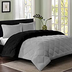 Reversible AC Single Bed Comforter/Blanket/Quilt/Duvet For Winters- Grey & Black-By Cloth Fusion