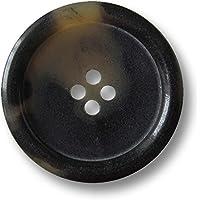 flache Kunststoff Knöpfe schwarz 2 Löcher Leder Optik  28mm 6 Stück