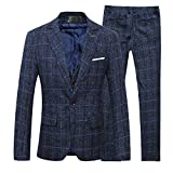 Cloudstyle Slim Fit Herrenanzug Tweed Karriert Fischgräte Design Retro Vintage (Medium, dunkelblau)