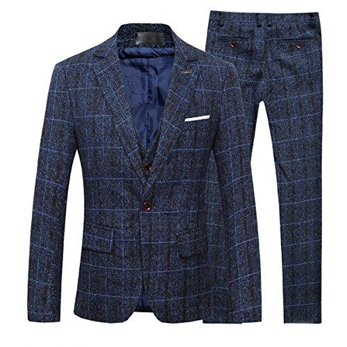 Cloudstyle Slim Fit Herrenanzug Tweed Karriert Fischgräte Design Retro Vintage (Tweed Vintage-anzug)