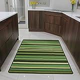 The Rug House Fußmatte und Läufer Teppiche Grünen Streifen Rutschfester Sauberläufer - 6 Größen verfügbar