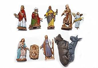 ricevi 10 pastori in PLASTICA LANDI alti 6,5 cm COSTUMI STORICI nativita gesu re magi PER PRESEPE S. GREGORIO ARMENO ricevi un portachiavi omaggio sheperds crib