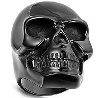 Flongo Men's Gothic Stainless Steel Ring Vintage Black Skull Bone Biker Band, Size Z+1
