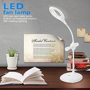 ICOCO Lampe LED de Table avec Ventilateur Lampe Interrupteur Tactile Lampe Rechargeable avec Cable USB Protection les Yeux Éclairage Rotatif 360 ° Lampe pour la Lecture