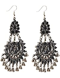 Zephyrr Jewellery Oxidized Silver Afghani Tribal Dangler Hook Chandbali Earrings