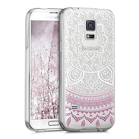 kwmobile Hülle für Samsung Galaxy S5 Mini G800 - TPU Silikon Backcover Case Handy Schutzhülle - Cover klar Indische Sonne Design Violett Weiß