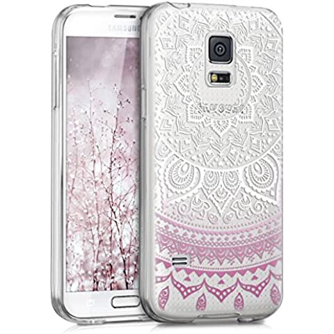kwmobile Funda TPU silicona transparente para Samsung Galaxy S5 Mini en violeta blanco transparente Diseño sol indio