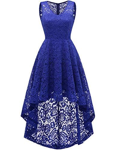 Dresstells Vokuhila Cocktailkleid elegant Spitzenkleid V-Ausschnitt Ärmellos Floral Festliche Kleider Royal Blue L Royal Blue Cap