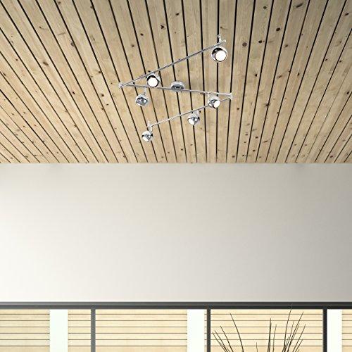 Moderner Deckenstrahler mit 6 runden Lampen, variierbarem Form und poliertem chrom Finish im Retro Design - 3