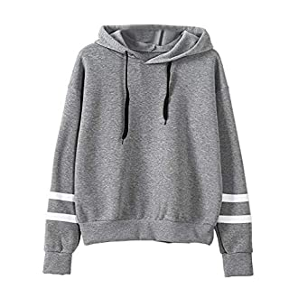 Befied Women Fashion Sweatshirt Hoodies Fleece Long Sleeve Contrast Color Striped Loose Hooded Jumper Pullover Gray