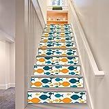 LLL LT011 DIY Wasserdicht Selbstklebend Entfernbar Treppenhaus Aufkleber Gelb Blau Fisch Muster
