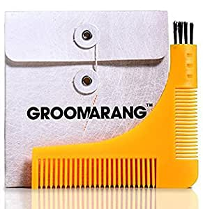 Groomarang Pochoir à Barbe avec 2 Peignes Intégrés/Brossette de Nettoyage