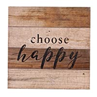 NIKKY HOME Rustic Wall Art Quoted choose happy,11.93 x 11.93 In