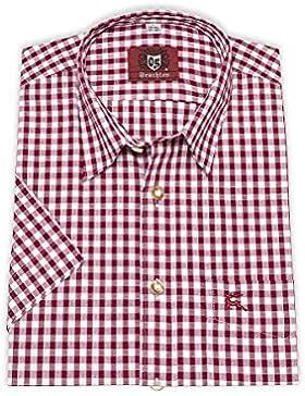 OS-Trachten Herren Trachtenhemd kurzarm dunkelrot karo 111936