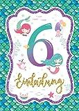 Junaversum 10 Einladungskarten zum 6. Kindergeburtstag Mädchen Meerjungfrau Einladungen sechste Geburtstag