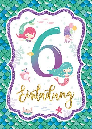 Junaversum 12 Einladungskarten zum 6. Kindergeburtstag Mädchen Meerjungfrau Einladungen sechste Geburtstag