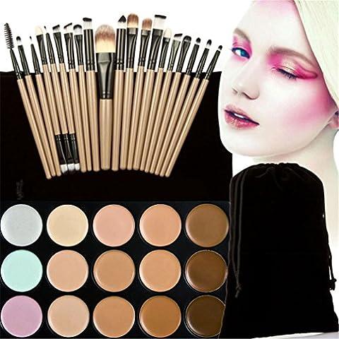 JasCherry 20 Stück Make Up Pinsel #5 + 15 Farben Concealer Abdeckcreme Camouflage Palette Cover Abdeck Makeup