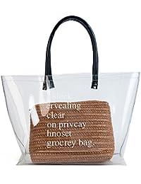 Bolso de plástico transparente de playa, grande, para mujer, con asa superior,