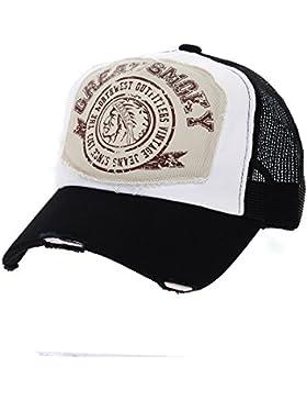 WITHMOONS Gorras de béisbol gorra de Trucker sombrero de Vintage Baseball Cap Meshed Distressed Trucker Hat NC1715