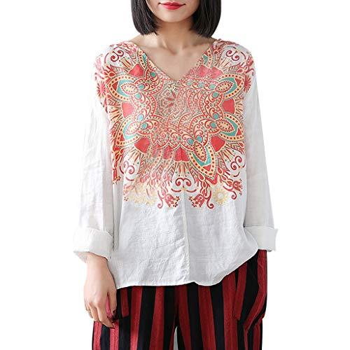 Caixukun Damen Lässige Tunika Elegant Süß Frisch Langarmshirt V-Ausschnitt Polka Dot Shirt Bubble Long Sleeve Oberteile Plissee Frauen Bluse Tops -