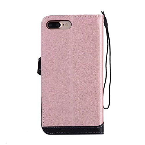 EKINHUI Case Cover Litchi Texture Dual Farbe Stitching Pattern Synthetik Leder Tasche Cover Flip Stand Case mit Lanyard & Card Slots für iPhone 7 Plus ( Color : Pink ) Pink