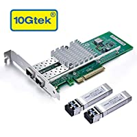 10Gb PCI-E NIC Network Card, Dual SFP+ Port, PCI Express Ethernet LAN Adapter X520-10G-2S-X8 with 2X 10G SFP+ LR Modules