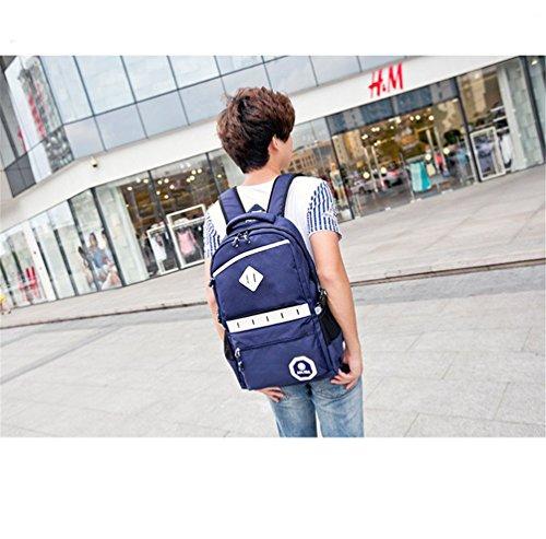 Go Further Neue beiläufige Art Buch Tasche wasserdicht schwarzen Rucksack für Jungen und Mädchen Blau
