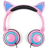 DURAGADGET Auriculares plegables estéreo con diseño de orejas de gato en color rosa.