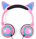 Pink Cat Childrens Headphones (with Blue LED Ears) - Compatible with Grundig 1445 - by DURAGADGET