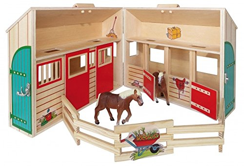 Coemo Pferdestall Bauernhof aus Holz tragbar im Koffer 2 Pferde Zubehör Reiterhof