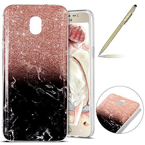 Kompatibel mit Hülle Galaxy J7 2018 Hülle Transparent TPU Silikon Handyhülle Weich Silikon Ultra Dünn Marmor Motiv Schutzhülle Crystal Clear Durchsichtig TPU Bumper Case,schwarz Rose Gold