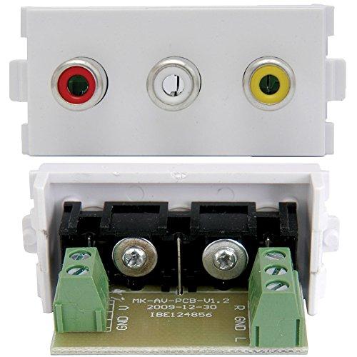 Cablefinder 3RCA Buchse Modul/Modular Wall Face Plate Outlet-AV Audio Video TV Rca Modular Wall Outlet