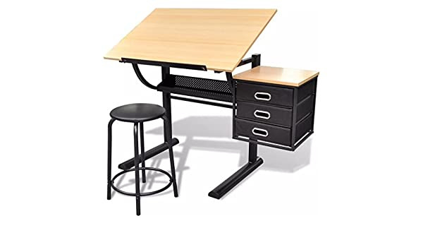 Senluowx scrivania inclinabile con tavolo da disegno e sgabello