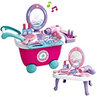 Kids Make Up Set 2-in-1 Vanity Dressing Table Play Set in Portable Case Princess Christmas Birthday Gift for Kids Girls (36 pcs)