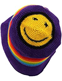 CROCHET BUCKET HAT PURPLE RAINBOW STRIPE ACID HOUSE SMILEY FACE