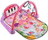 Four ways to play: Lay and play, tummy time, sit and play, and take along;Music rewards baby as they kicks the piano keys;5 busy activity toys and a large mirror;Short or long play music up to 15 minutes;Soft, comfy mat