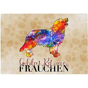 Cadouri Frühstücksbrettchen GOLDEN RETRIEVER FRAUCHEN Glasschneidebrett Schneidebrettchen – 28,5 x 20 x 0,4 cm