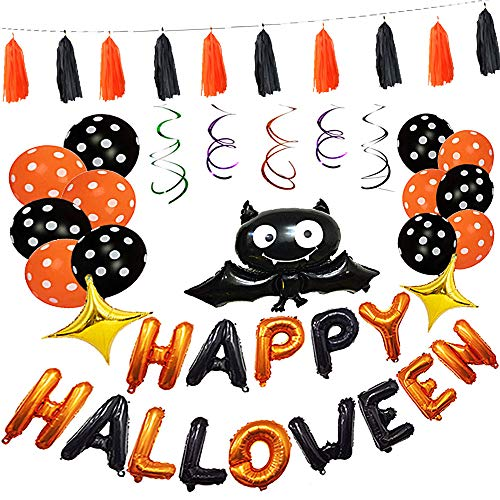 (elfisheu Happy Halloween Deko Grusel Girlande Wimpelkette Luftballons Halloween Dekoration Set Fledermaus Form Ballons in Orange und Schwarz für Halloween Party Deko)