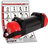 POWRX Power Bag 5-30 kg Kunstleder Fitness Bag für Functional Fitness (30 kg Schwarz/Rot)