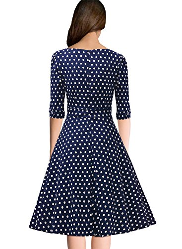 Miusol Elegant 50er Jahre Retro Polka Dots?Rockabilly Cocktailkleid Party Stretch Kleid Blau Gr.L - 2