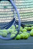 Yellow Tennis Balls and Racquet by the Net Sports and Recreation Journal: 150 Page Lined Notebook/Diary