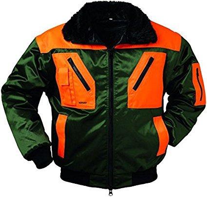 Preisvergleich Produktbild Qualitex Piloten-Jacke 4 in 1 - Kragenfutter und Ärmel abtrennbar - grün / orange - Größe: M