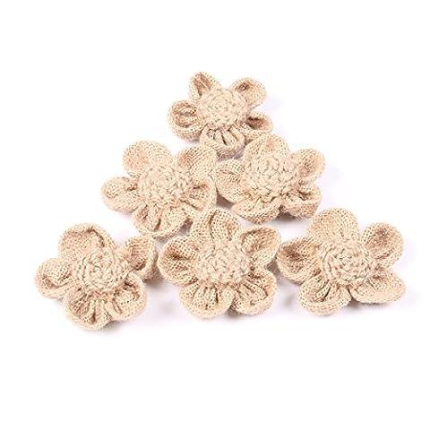 OULII Toile de jute fleur 5 pétales hessienne Jute fleur