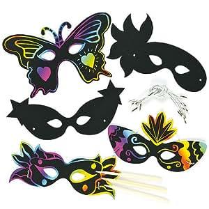 kratzbild masken karnevalsmasken scratch art f r kinder zum basteln ideal ideal zum fasching. Black Bedroom Furniture Sets. Home Design Ideas