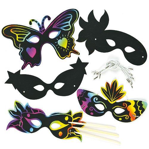 Kratzbild-Masken - Karnevalsmasken - scratch art für Kinder zum Basteln ideal ideal zum Fasching und Karneval - 10 Stück
