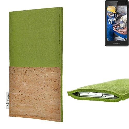 flat.design Handy Tasche Evora mit Korkfach für Fairphone Fairphone 2 - Schutz Case Etui Filz Made in Germany in hellgrün mit Korkstoff - passgenaue Handyhülle für Fairphone Fairphone 2