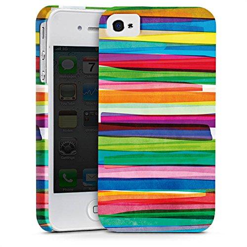 Apple iPhone 7 Tasche Hülle Flip Case Streifen Wasserfarbe Bunt Premium Case glänzend