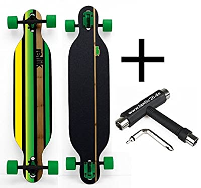 "Rellik Longboard Green Straightline drop-through 38""x8,5"" + Fantic26 Skatetool"