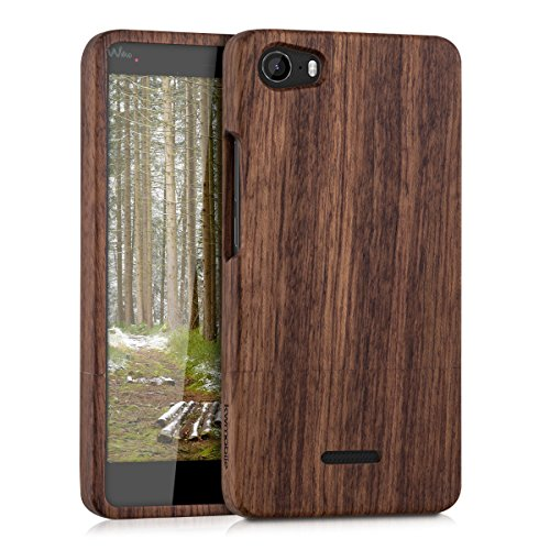 Kwmobile wiko fever 4g cover legno - custodia in naturale - case rigida backcover per wiko fever 4g